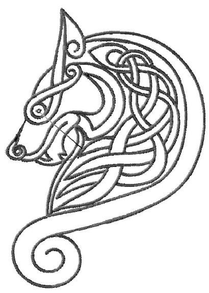 Celtic Wolf Head Motif